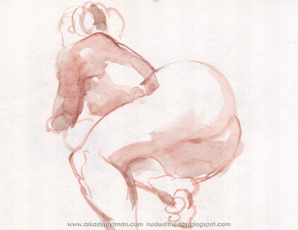 Female Nude, Reclining On Her Side, In Reverse