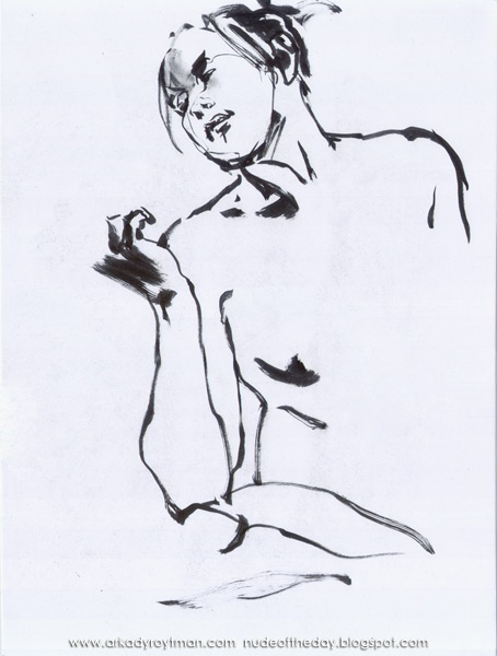 Seated Female Nude, Looking At Her Raised Right Hand