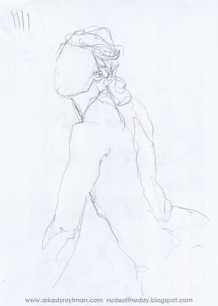 Female Nude, Seated In Profile And Reverse, Leaning On Her Left Arm, Looking Back