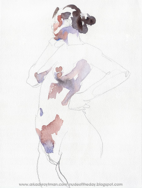 Female Nude, Standing In Semi-Profile, Looking Away, Her Left Hand Resting On Her Hip