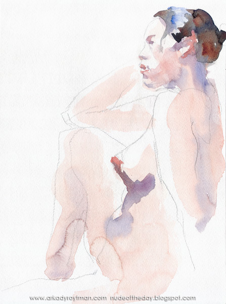 Female Nude, Seated In Profile, Her Right Elbow Resting On Her Raised Knee