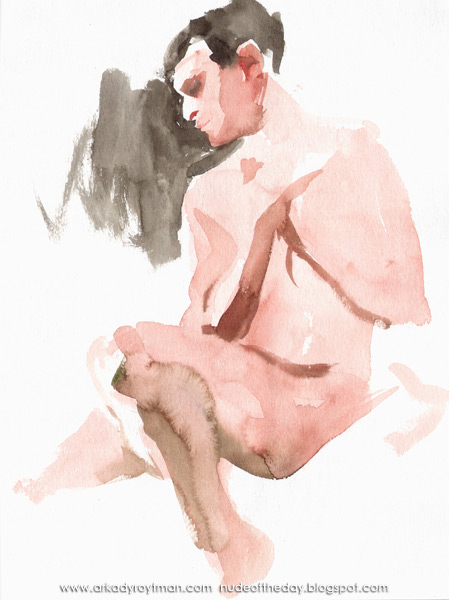 Female Nude, Seated In Semi-Profile, Her Arms Cris-Crossed Around Her Chest