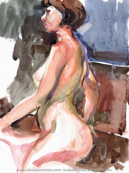 Female Nude, Seated In Profile, Her Right Arm Behind Her