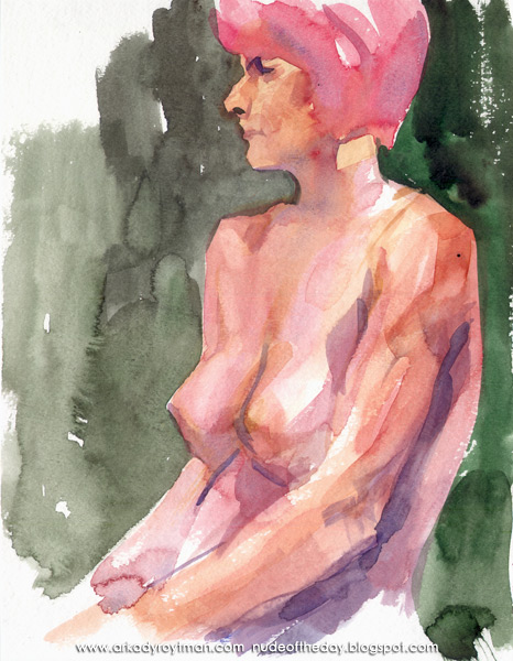 Jenny With Pink Hair, Seated In Profile, Her Arms In Her Lap