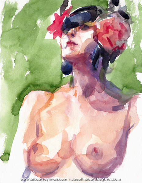 Female Nude With Pink Flowers In Her Hair, Seated In Semi-Profile