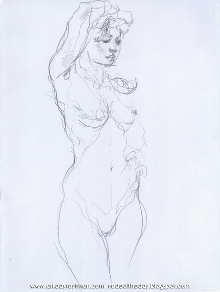 Female Nude, Standing In Semi-Profile, Her Right Arm Resting On Her Head
