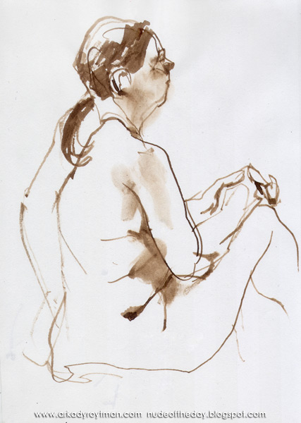 Female Nude, Seated In Profile And Reverse, Her Hands Clasped And Resting On Her Knees