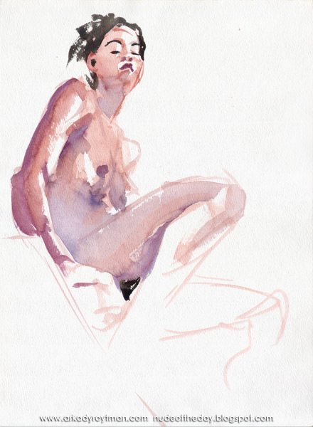 Female Nude, Seated On A Staircase, In Profile, Looking Down