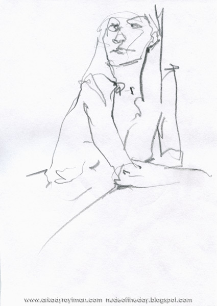 Seated Female Nude, Leaning On Her Forearms
