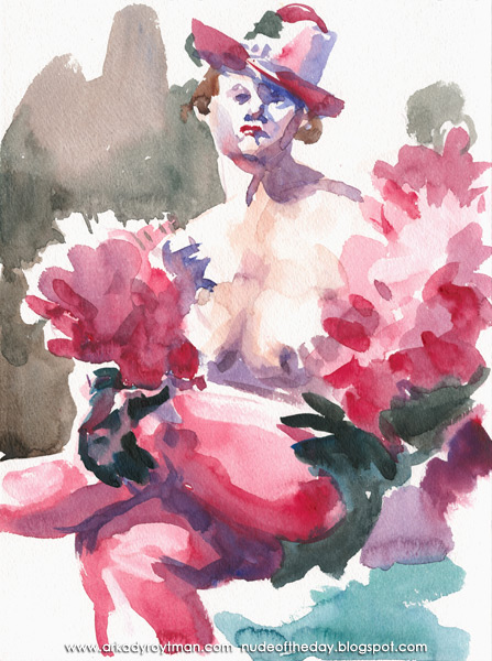 Female Nude, Seated With Her Legs Crossed, Wearing A Pink Hat, Feather Boa and Stockings