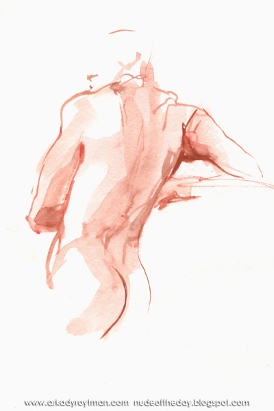 Male Nude, Standing In Reverse, Leaning On His Bent Right Arm
