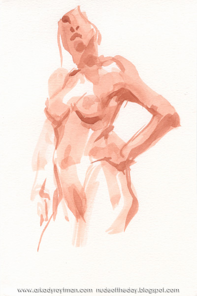 Female Nude, Standing In Contrapposto, In Semi-Profile, Her Left Hand On Her Hip