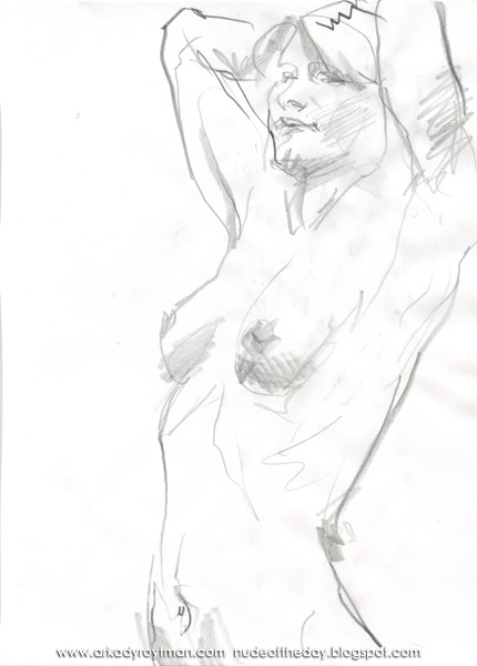 Female Nude, Standing In Semi-Profile, Her Arms Raised Above Her Head