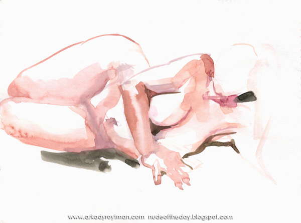 Female Nude, Reclining On Her Left Side, Leaning On Her Right Hand