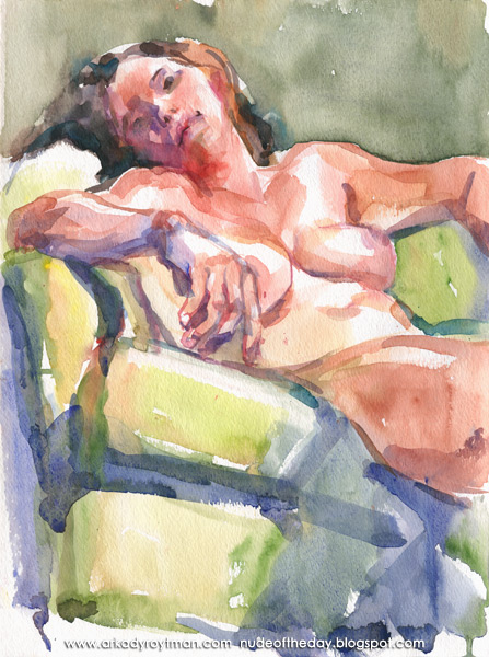 Female Nude, Resting On A Lime-Green Arm Chair