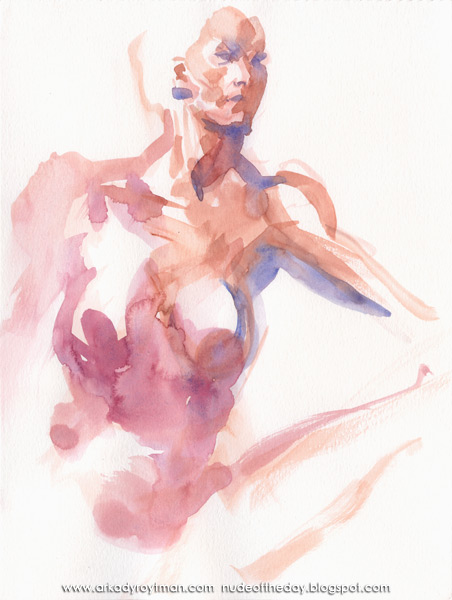 Female Nude, Seated In Semi-Profile, Her Neck Outstretched
