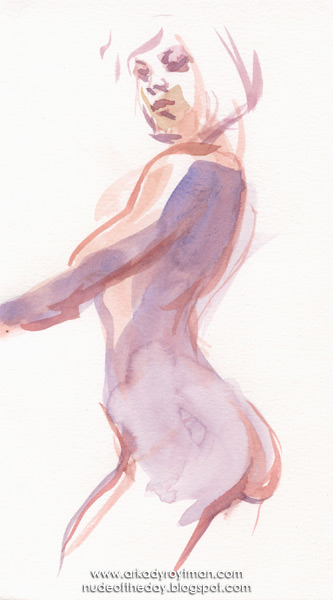 Female Nude, Standing In Profile And Reverse, Her Left Arm Outstretched