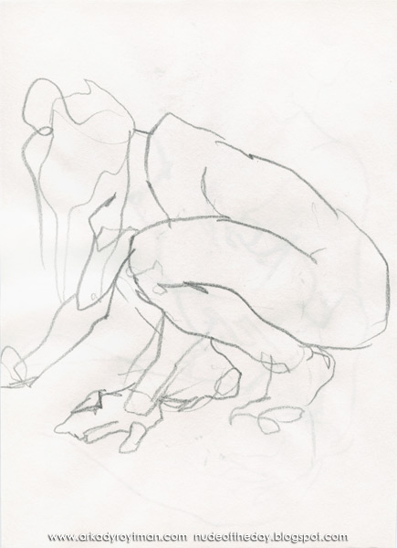 Female Nude, Crouching On All Fours, In Profile, Looking Away
