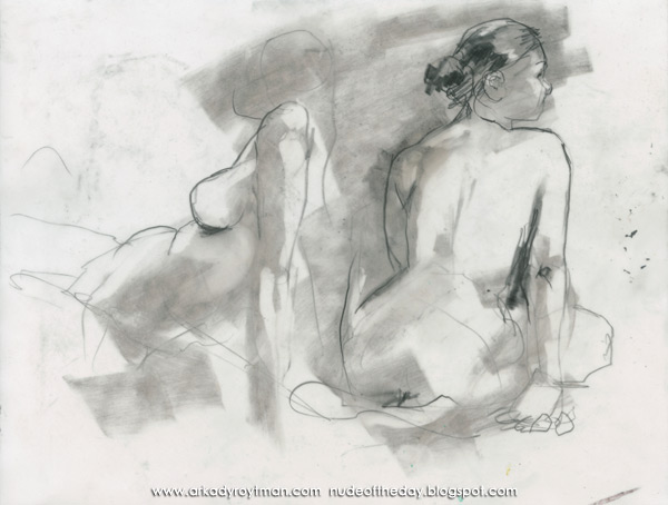 Two Female Nudes, Seated In Profile And Reverse, Looking Away From Each Other