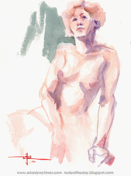 Female Nude, Seated In Semi-Profile, On Her Left Side