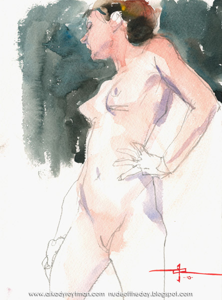 Female Nude, Standing In Profile, Her Left Hand Resting On Her Hip