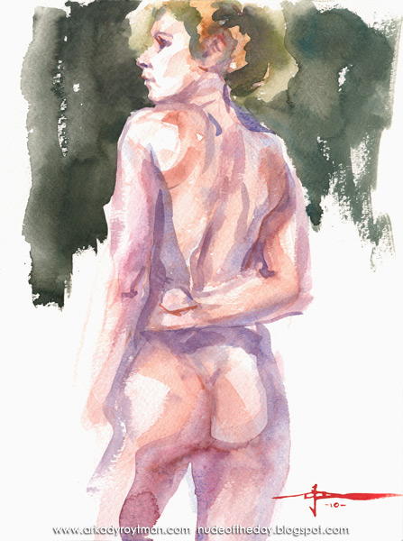 Female Nude, Standing In Reverse, Her Right Arm Behind Her Back