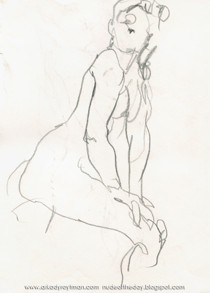 Female Nude, Standing In Profile, Leaning On Her Right Leg