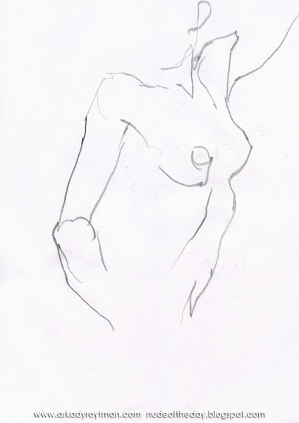Female Nude, Standing In Semi-Profile, Her Left Arm Raised