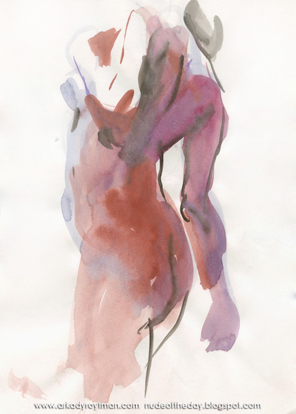 Female Nude, Standing In Profile And Reverse, Her Left Hand Resting On Her Chest