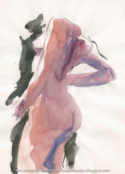 Female Nude, Standing In Profile, Her Right Arm On Her Hip