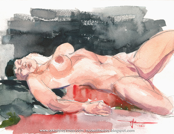 Emily, Reclining On A Red Cloth, Her Left Leg Raised