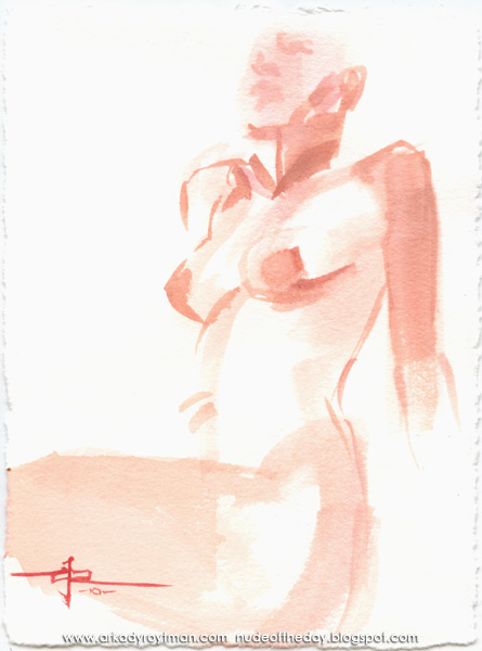 Female Nude, Seated In Semi-Profile, Leaning Back On Her Arms