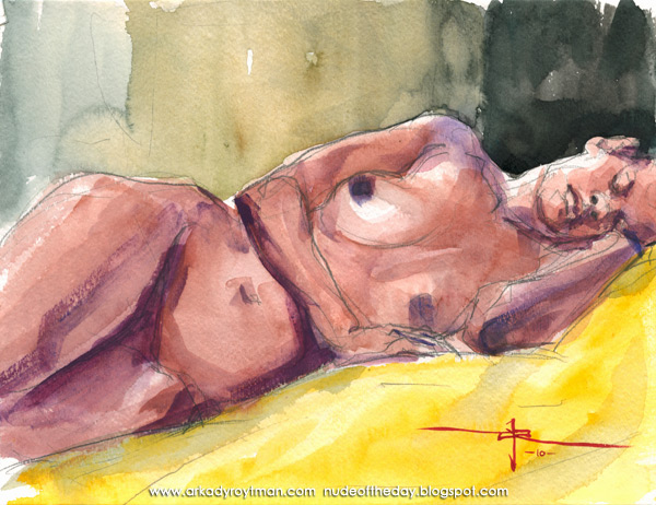 Jamesha, Reclining On A Yellow Cloth