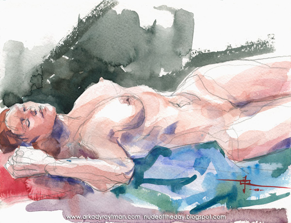Colleen, Reclining On A Blue Cloth