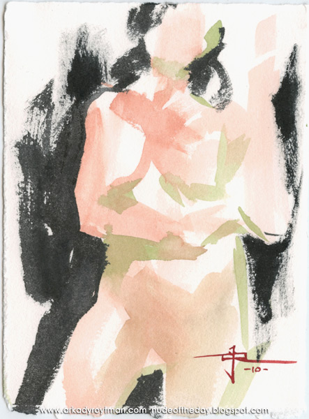 Female Nude, Standing In Contrapposto, Her Left Arm Raised