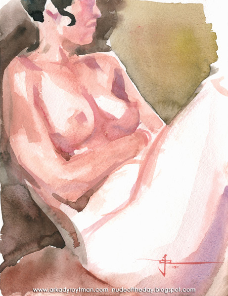 Female Nude, Seated In Profile, Her Right Arm Resting On Her Belly (Part 2)