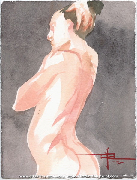 Female Nude, Standing In Profile And Reverse, Her Right Hand Resting On Her Head