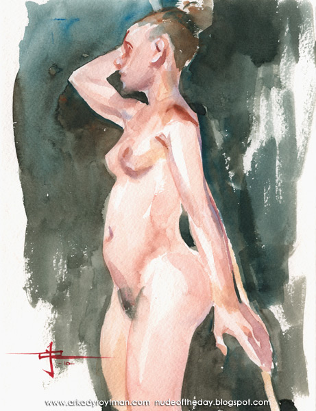 Female Nude, Standing In Profile, Holding A Bamboo Stick