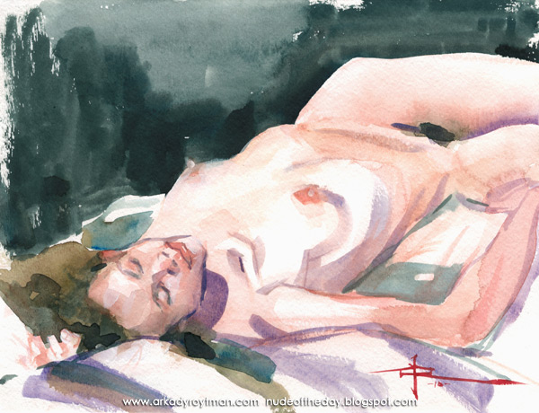 Reclining Female Nude, Her Hips Turning Rightward