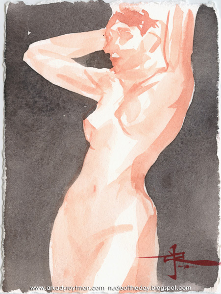 Female Nude, Standing In Semi-Profile, Her Hands Raised Behind Her Head