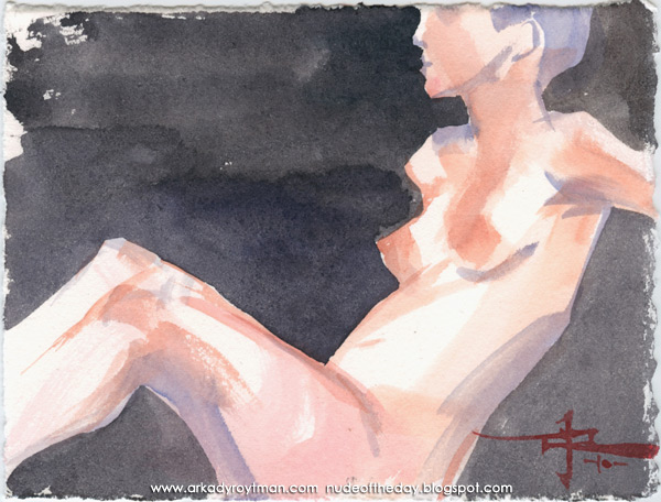 Female Nude, Seated In Profile, Leaning Back On Her Left Arm