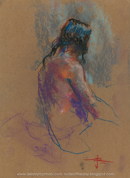 Female Nude, Seated In Profile And Reverse, Looking Away