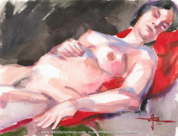 Catherine, Reclining On A Red Cloth
