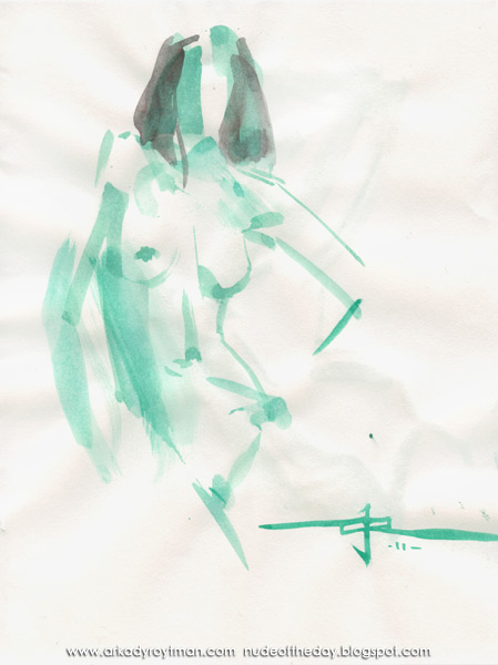 Female Nude, Standing In Contrapposto, Her Left Hand On Her Hip
