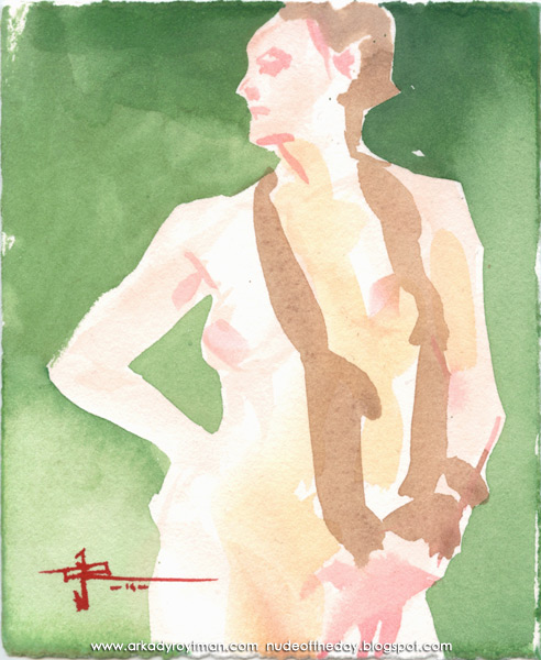 Reeva, Standing In Contrapposto, A Brown Scarf Wrapped Around Her Neck And Left Wrist