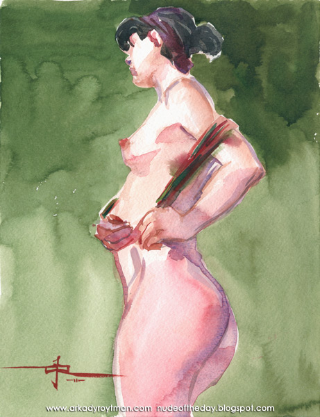 Sivonna, Standing In Profile, Wrapping A Red And Green Scarf Around Her Torso
