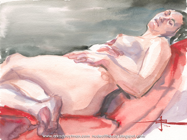 Krissy, Reclining On A Red Cloth, Her Left Leg Crossing Her Right
