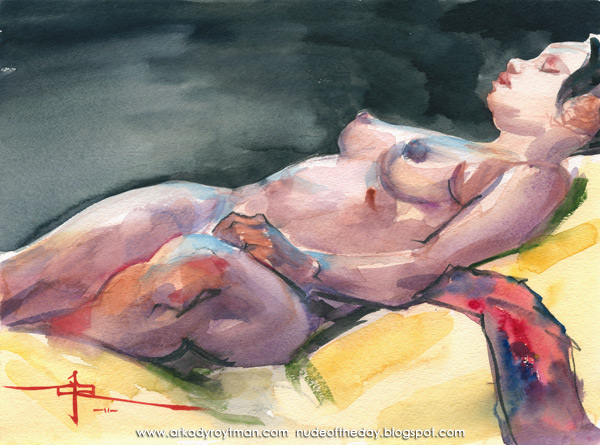 Jamesha, Reclining On A Yellow Cloth, Her Left Hand Resting In Her Lap
