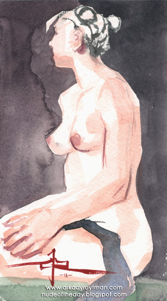 Female Nude, Seated In Profile, Looking Away