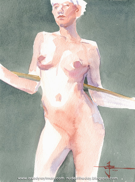 Julie, Standing In Contrapposto, Her Arms Wrapped Around A Bamboo Stick